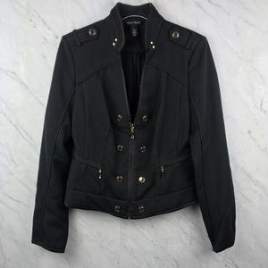 WHBM Black Button Zip Up Jacket, Size 12